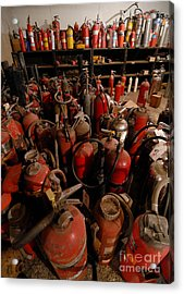 Sea Of Fire Extinguishers Acrylic Print by Amy Cicconi