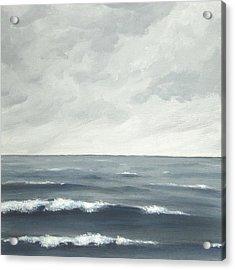 Sea On A Grey Day Acrylic Print by Anna Bronwyn Foley