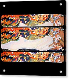 Sea Serpent IIi Tryptic After Gustav Klimt Acrylic Print