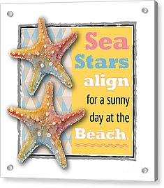 Sea Stars Align For A Sunny Day At The Beach. Acrylic Print