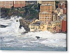 Acrylic Print featuring the photograph Sea Storm In Camogli - Italy by Antonio Scarpi