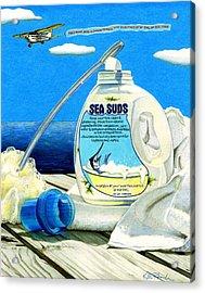 Sea Suds Acrylic Print by Karen Rhodes