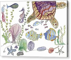 Sea Turtle And Fishies Acrylic Print by Helen Holden-Gladsky