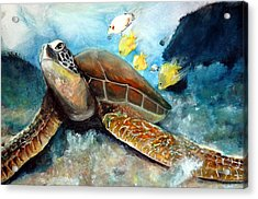 Acrylic Print featuring the painting Sea Turtle I by Bernadette Krupa
