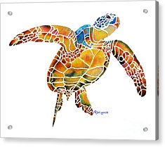 Acrylic Print featuring the painting Sea Turtle Gentle Giant 2 by Jo Lynch