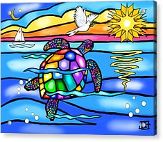 Sea Turtle In Turquoise And Blue Acrylic Print