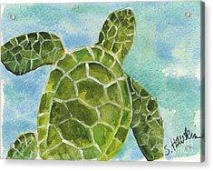 Sea Turtle Watercolor Acrylic Print by Sheryl Heatherly Hawkins