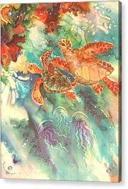 Sea Turtles Acrylic Print by Deborah Younglao