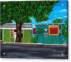 Acrylic Print featuring the painting Sea-view Cafe by Laura Forde