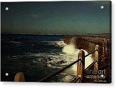 Sea Wall At Night Acrylic Print