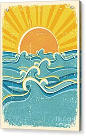 Sea Waves And Yellow Sun On Old Paper Acrylic Print