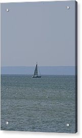 Acrylic Print featuring the photograph Sea Yacht  Land Sky by Phoenix De Vries