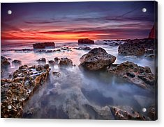Seaford Rock Pool Acrylic Print by Mark Leader