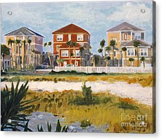 Acrylic Print featuring the painting Seagrove Beach Houses by Jeanne Forsythe