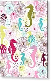 Seahorse Flora Acrylic Print