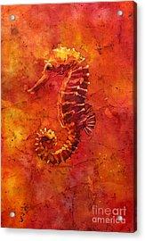 Seahorse Watercolor Batik Acrylic Print by Ryan Fox