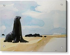 Acrylic Print featuring the painting Seal Rock by Ed  Heaton