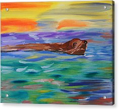 Acrylic Print featuring the painting Sunny Sea Lion by Meryl Goudey