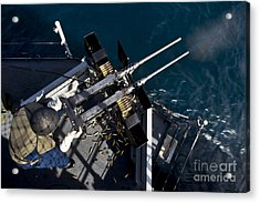 Seaman Fires Twin .50 Caliber Machine Acrylic Print by Stocktrek Images
