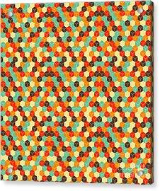 Seamless Hexagonal - Cube, Cubic Acrylic Print by Ravennka