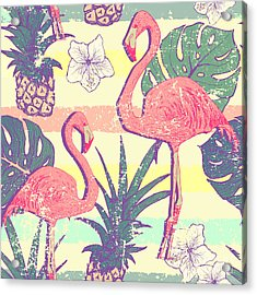 Seamless Pattern With Flamingo Birds Acrylic Print by Julia blnk
