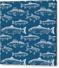 Seamless Pattern With Hand Drawn Fish Acrylic Print by Radiocat
