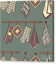 Seamless Pattern With Kitchen Textiles Acrylic Print by Talirina