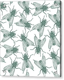 Seamless Vector Flies Pattern In Acrylic Print by Lestyan