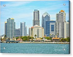 Seaport Village And Downtown San Diego Buildings Acrylic Print by Claudia Ellis