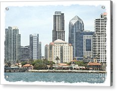 Seaport Village And Downtown San Diego Watercolor Acrylic Print by Claudia Ellis
