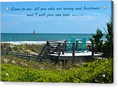 Seascape And Scripture Acrylic Print by Sandi OReilly