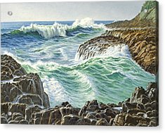 Seascape-devil's Churn-oregon Acrylic Print by Paul Krapf