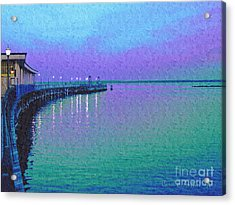 Painterly Seascape Purple Flurry Acrylic Print