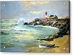 Acrylic Print featuring the painting Seascape Lighthouse By Mary Krupa by Bernadette Krupa