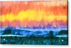 Seascape Sunset Abstract Art - Dancing Lights At The Beach  Acrylic Print