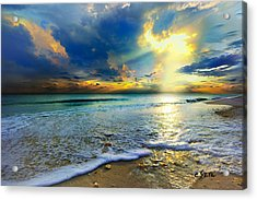 Seascape Sunset-gold Blue Sunset Acrylic Print by Eszra Tanner