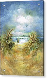 Seascape With Fisherman Acrylic Print by Nancy Gorr