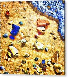 Seashells And Surf Acrylic Print