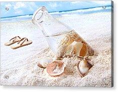 Seashells In A Bottle On The Beach Acrylic Print by Sandra Cunningham