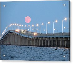 Seaside Big Moon - Linda Andrews Acrylic Print by Robert Henne