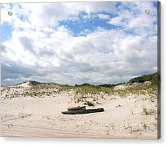 Acrylic Print featuring the photograph Seaside Driftwood And Dunes by Pamela Hyde Wilson