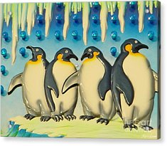 Seaside Funtown Penguins Acrylic Print