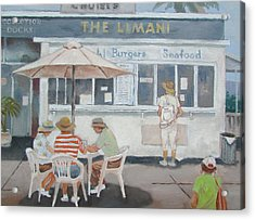 Acrylic Print featuring the painting Seaside Lunch by Tony Caviston