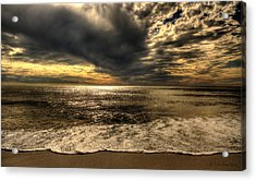 Seaside Sundown With Dramatic Sky Acrylic Print