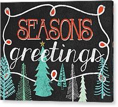 Seasons Greetings Black Acrylic Print by Mary Urban