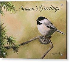 Season's Greetings Chickadee Acrylic Print by Marna Edwards Flavell