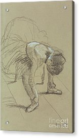 Seated Dancer Adjusting Her Shoes Acrylic Print by Edgar Degas