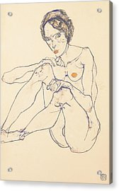 Seated Female Nude Acrylic Print by Egon Schiele