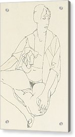 Seated Female Nude With Open Blouse Acrylic Print by Egon Schiele