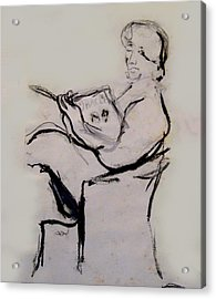 Seated Figure Reading Acrylic Print by James Gallagher